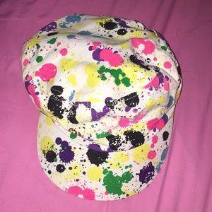 Paint splatter newsboy cap